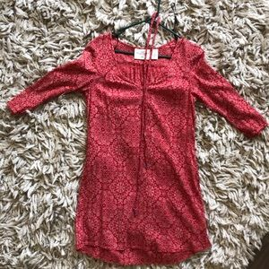 3/4 sleeve salmon red dress or tunic